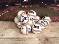 Set of 11 Personalized Team Baseballs. Perfect for a little league end of season trophy alternative. These baseballs make a unique trophy for