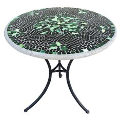 Marvelous Furniture For Outdoor Living Space With Mosaic Outdoor Table: Interesting Furniture For Outdoor Living Room Decoration Using Round Black And Green Iron Mosaic Outdoor Table ~ famousgoods.net Furniture Inspiration
