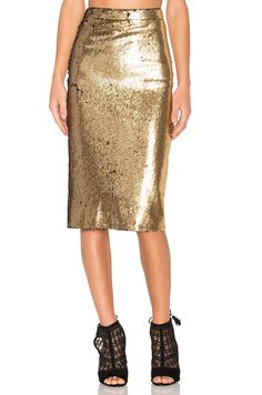 House of Harlow Gold Sequin Skirt