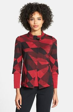 Ming Wang Geometric Jacquard Knit Jacket at Nordstrom.com. An easy-care knit jacket flaunting a reimagined version of a buffalo-check plaid gets a chic, contemporary spin from an asymmetrical front topped with a funnel collar and closed with a single oversized button. Three-quarter sleeves enhance the look.
