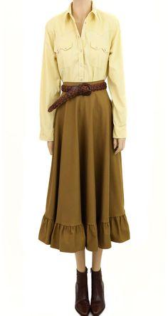 26f86cc1d7ce Vintage 1980s Robert Lighton British Khaki Prairie Skirt