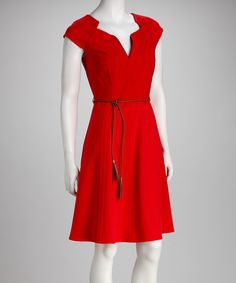 Take a look at this Sharagano Hot Red Tie-Waist Dress on zulily today!