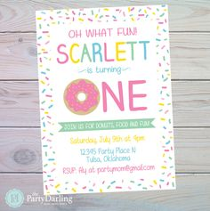 Donut Party Invitation | Donut Birthday Party | Donut Birthday Invitation | Donut Party Decorations | Donut Party Favors | The Party Darling by ThePartyDarlingLLC on Etsy https://www.etsy.com/listing/477864621/donut-party-invitation-donut-birthday