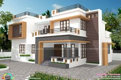 Contemporary style 4 bedroom house in 1700 square feet by First concept from Palakkad, Kerala House Outside Design, House Front Design, Contemporary House Plans, Modern House Plans, Contemporary Style, Modern Exterior House Designs, Modern House Design, House Plans 2 Storey, Indian House Plans