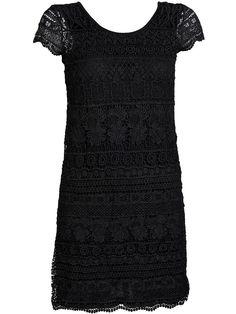 ONLY Kurzärmeliges Kleid., Details aus Spitze an der Vorderpartie., Einfarbiger Jersey am Rücken., Runder Kragen., Länge: 90 cm in Größe38., Das Model ist 176 cm groß und trägt Größe 36.,   83% Polyester, 17% Viskose...