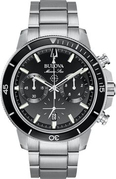 Bulova Watch Marine Star Mens #add-content #allow-discount-yes #basel-20 #bezel-unidirectional #bracelet-strap-steel #brand-bulova #case-depth-15mm #case-material-steel #case-width-45mm #chronograph-yes #date-yes #delivery-timescale-call-us #dial-colour-black #fashion #gender-mens #movement-quartz-battery #new-product-yes #official-stockist-for-bulova-watches #packaging-bulova-watch-packaging #sale-item-no Star Citizen, Stainless Steel Watch, Stainless Steel Bracelet, Bulova Marine Star, Cool Watches, Watches For Men, Men's Watches, Atomic Watch, Bulova Mens Watches