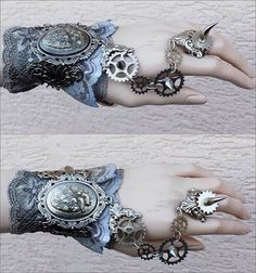 Anatomical heart cuff by Pinkabsinthe on DeviantArt Steampunk Accessories, Steampunk Clothing, Lace Cuffs, Anatomical Heart, Metal Bracelets, Old Antiques, Dieselpunk, Stuff To Buy, Steam Punk
