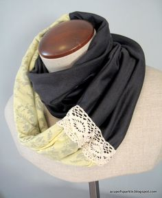 A Cup Of Sparkle: Jersey Lace Scarf Tutorial. My old/too small dresses and shirts would be good for this