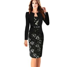 Cheap dress suit, Buy Quality dress suit woman directly from China plus size dress suits Suppliers: Women Autumn Dress Suits Female Elegant Full Sleeve Blazer Suits with Sashes Formal Office Work Tunics Pencil Dress Plus Size Day Dresses, Plus Size Dresses, Dresses Online, Evening Dresses, Dresses For Work, Dress Work, Patterned Work Dresses, Faux Jacket, Gaines