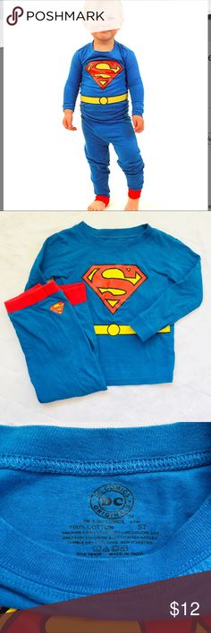 DC Comics Superman Pajamas Super cute Superman pajamas for super little boys! Gently used. No stains just minimal pilling. DC Comics Originals Pajamas Pajama Sets