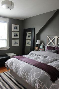 Purple gray bedroom, purple duvet, grey duvet, purple rooms, bedroom co Purple Gray Bedroom, Plum Bedroom, Purple Duvet, Grey Duvet, Purple Bedrooms, Bedroom Black, Bedroom Colors, Dream Bedroom, Home Bedroom