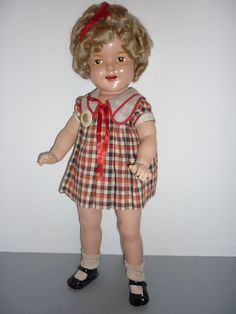 "Reliable Canadian Shirley Temple Doll - 22"" Brown Eyed -Original Dress"