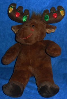 "Build A Bear 16"" HAL MOOSE with HOLIDAY LIGHTS ON ATLERS 2008 BABW SE11 #BuildaBear #AllOccasion"
