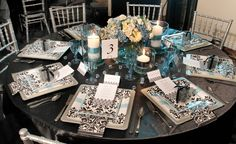 aqua and damask party | black-white-damask-turquoise-bridal-shower-brunch-decor-tablescape-1 ...