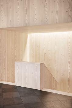 Dinesen & Garde Hvalsoe Showroom is a minimalist space located in Aarhus, Denmark, designed by Studio David Thulstrup Bespoke Design, Modern Design, White Washed Pine, Metal Daybed, Interior Architecture, Interior Design, Showroom Design, Aarhus, Cabinet Makers