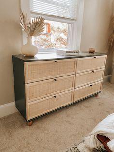 Painting Ikea Furniture, Ikea Furniture Hacks, Diy Home Furniture, Furniture Storage, Tarva Ikea Hack, Ikea Tarva Dresser, Diy Dressers, Nursery Dresser, Dresser Drawers