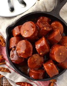 Crock Pot Sweet Chili BBQ Kielbasa is a 3 ingredient gluten-free appetizer recipe that couldn't be simpler. Perfect for parties and game day! | iowagirleats.com