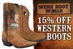 Get 15% off all western boots at www.workbootworld.com. Includes all regular and clearance priced hunting boots. Offer valid until Monday, February 2nd, 2014. Must use promo code: WBWWILDWEST0215