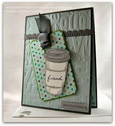 Be Creative with Nicole: Friends are the Perfect Blend for TSSC286 www.becreativewithnicole.blogspot.com Perfect Blend card made with the largest Chalk Talk tag and a blend of Smokey Slate, Basic Gray, Soft Sky and a hint of Gumball Green.