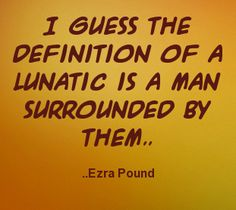I guess the definition of a lunatic is a man surrounded by them. Ezra Pound