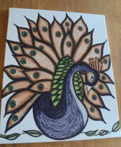 "Lotus Peacock Print on Canvas 16x20 $50.00 USD Art print of my ""Lotus Peacock"" art piece on canvas. Size 16x20."