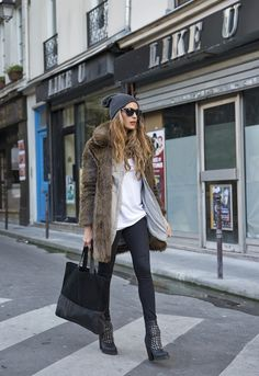 casual outfit amped up w/ studded leather heels & fur coat** : men's button-up, beanie & tote- street style