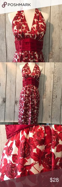 Rose pattern silk halter dress. Beautiful 100% silk halter dress. Red rose pattern with cummerbund detail at waist. Worn once to Kentucky Derby party. You will get lots of compliments! Forever 21 Dresses Backless