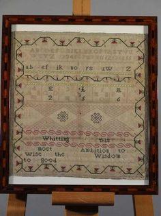 A 19thC framed sampler, (AF), 31cm x 30cm.