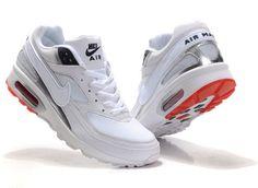 Nike Air Max Bw White Upper And White Black And Red Sole Mens Shoes-$104 Air Max Sneakers, Sneakers Nike, Red Sole, Shopping Stores, Sports Shoes, Nike Air Max, Men's Shoes, My Style, Cher