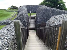 Old Sarum in Salisbury, Wiltshire, England where there's evidence of human habitation 3000 years ago.