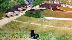 DESIGN Frå Berlihaugen i Sykkylven vil utsynet bli dette, om planane for eit campus for unge designarar bli realisert. I midten står det gamle Berlihuset. SKISSE: PLOT ARKITEKTER AS