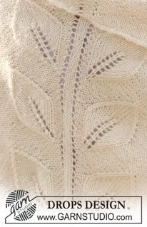 "DROPS shawl with leaf pattern in ""Alpaca"" and ""Kid-Silk"". ~ DROPS Design"