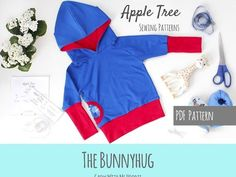 Bunnyhug: Grow with Me Hoodie.  A shirt pattern you can pair with your favourite Grow with Me pants pattern.  Roll and unroll the cuffs to have this hoodie grow with your child.  Apple Tree Bunnyhug Grow With Me Hoodie PDF by AppleTreePatternCo