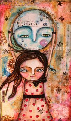 Today I am the moon girl wall art print mixed by SusanaTavares