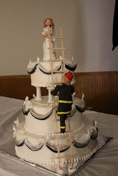Tyler Daniel~~it is either gonna be this Fireman Wedding Cake or the VDub Bus cake if you ever get married. Scratch that, lets just practice making the cakes! Firefighter Wedding Cakes, Fireman Wedding, Beautiful Wedding Cakes, Beautiful Cakes, Amazing Cakes, Cupcakes, Cupcake Cookies, Unique Cakes, Creative Cakes