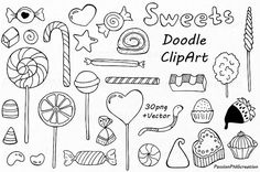 Big Set of Doodle Sweets clipart set includes: - 84 PNG files with transparent backgrounds ( the biggest one is approximately high) - EPS, AI (vector) files Doodle Png, Doodle Sketch, Doodle Drawings, Easy Drawings, Sweets Clipart, Cupcake Clipart, Candy Drawing, Sketch Note, Illustration Mode