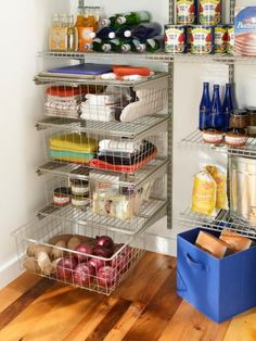 If you're redoing your pantry, choose wire shelving and drawer bins, like these from ClosetMaid. They let you see exactly what's located where, even on high, hard-to-reach spots that solid shelves would obscure.