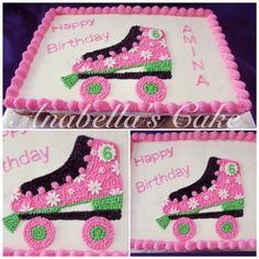 Roller skate cake Owl Birthday Parties, Birthday Desserts, 11th Birthday, Birthday Cake Girls, Birthday Ideas, Birthday Cakes, Theme Parties, Roller Skating Party, Skate Party
