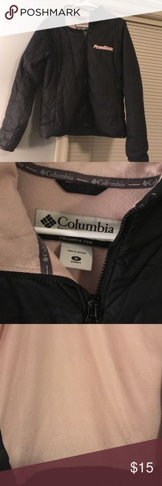 Black Penn State Columbia jacket Fleece lined and in good condition. Shows some signs of wear such as color fading and pilling on inside bottom fleece. Has sleek zipper pockets and another pocket near collar for your iPod or phone. Columbia Jackets & Coats Puffers