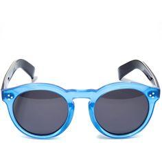 Illesteva Light Blue Leonard II Acetate Sunglasses (565 AUD) ❤ liked on Polyvore featuring accessories, eyewear, sunglasses, folding reading glasses, sunnies, retro style sunglasses, round circle sunglasses and circle sunglasses