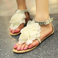 Flower Decorated Beading Women's Flat Sandals (Plus Size Available) - m.tbdress.com