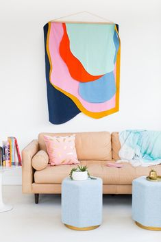 DIY Wall Hangings - Colorful DIY Fabric Wall Hanging - Easy Yarn Projects , Macrame Ideas , Fabric Tapestry and Paper Arts and Crafts , Planter and Wood Board Ideas for Bedroom and Living Room Decor - Diy Wall Art, Diy Wall Decor, Diy Home Decor, Fabric Wall Decor, Fabric Wall Hangings, Fabric Walls, Hanging Fabric On Walls, Diy Wall Hanging, Creative Wall Decor