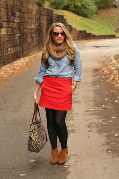 bright skirt and tights