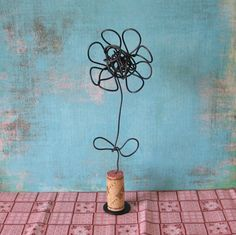 Just Starting to Bloom Wire Flower Sculpture by birdfromawire