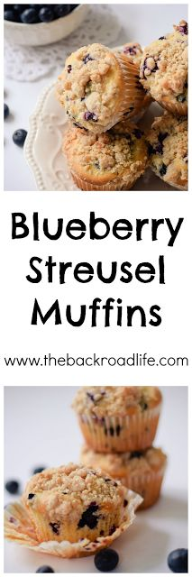 A tasty and moist muffin with bursts of blueberry goodness, topped with a yummy cinnamony streusel topping.