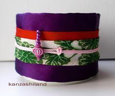 obi kimono bracelet with chrysanthemum