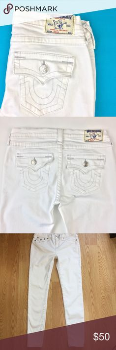 PRE-LOVED True Religion Jeans in White Pre-Loved - True Religion White Skinny Jeans / Legging is Size 29. Still in Very Good Used Condition with only a couple minor spots as pictured. These jeans fit great & pair perfectly with the oh so popular blush, pastels & floral prints! The inseam is 30 inches & waistband measurement is 16 inches. Bundle with anything else in our closet for extra savings! Happy Poshing! :) True Religion Jeans Skinny