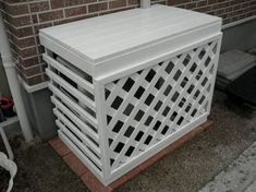 This is a nice cover for the outdoor unit of a Ductless system. It allows for plenty of air flow thru the slats. Air Conditioner Cover Outdoor, Air Conditioner Screen, Ac Unit Cover, Ac Cover, Backyard Projects, Backyard Patio, Building A Storage Shed, Outdoor Cover, Fence Landscaping