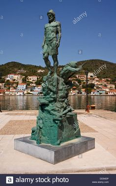Statue of Odysseus, in Vathy harbour, on the Greek island of Ithaca.