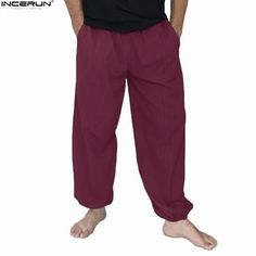 4328502084bf Plus Size 5XL Men s Cotton Loose Harem Pants Solid Casual Baggy Trousers Men  Nepal Indian Pants Men Wide Leg Hip Hop Pants New